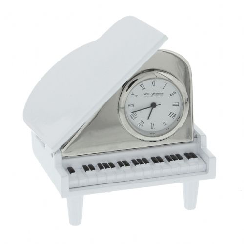 White Grand Piano Minature Clock - Harvey Makin Gift Idea For Christmas